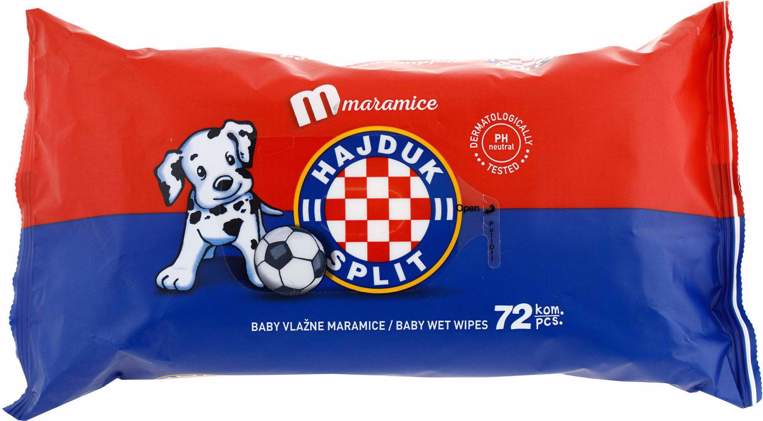 "Picture of Wet baby wipes ""Hajduk"" red-blue 72 pcs"