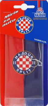 "Picture of Car Air Freshener ""Moj Hajduk"" red-blue flag"