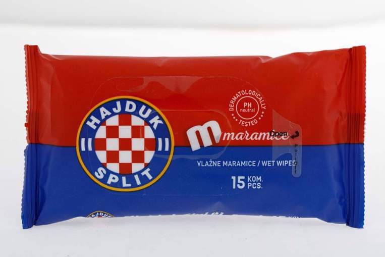 """Picture of Refreshing wet towels """"Hajduk"""" red-blue, 15 pcs"""
